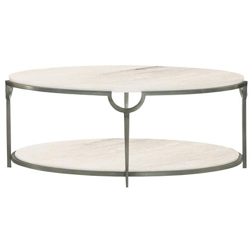 Laci Hollywood Regency Silver Marble Oval Coffee Table | Kathy Kuo Home