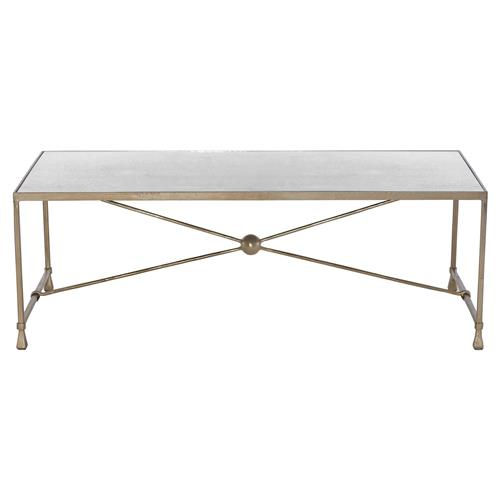 Lainie Hollywood Regency Champagne Splatter Mirrored Coffee Table | Kathy Kuo Home