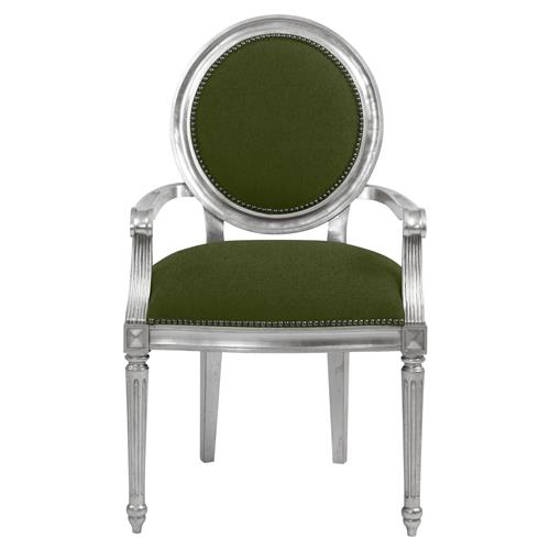 Jubilee Global Bazaar Forest Green Silver Leaf Armchair | Kathy Kuo Home
