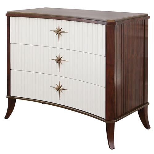 Atticus Mid Century Three Drawer White Brown Dresser | Kathy Kuo Home