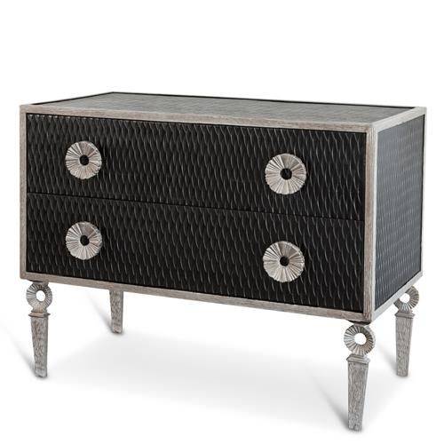 Cary Hollywood Regency Black Two Drawer Iron Frame Dresser | Kathy Kuo Home