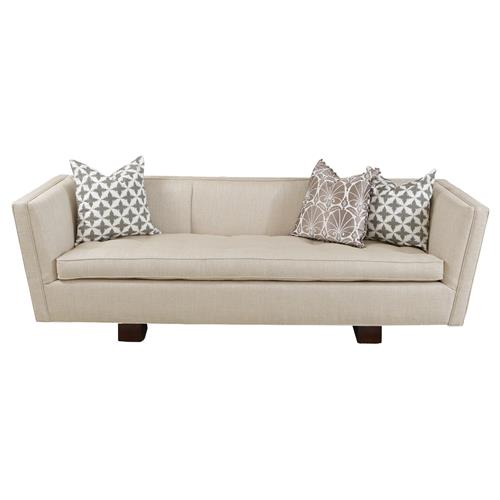 Maeve Hollywood Regency Beige Linen Woven Sofa | Kathy Kuo Home