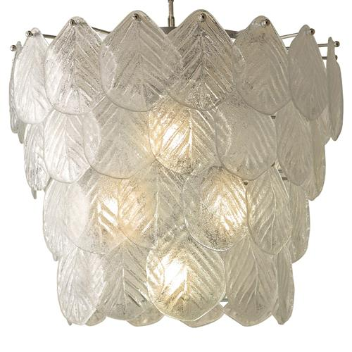 Hamilton Modern Classic Nickel Glass Leaf Chandelier | Kathy Kuo Home