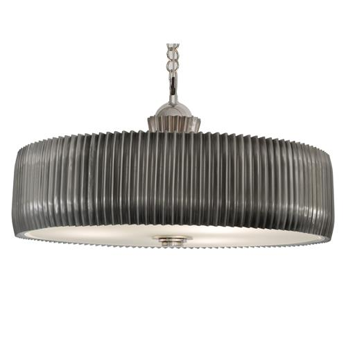Lizzy Industrial Loft Silver Nickel Accordion Chandelier | Kathy Kuo Home