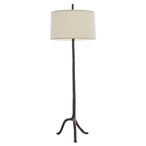 Missoula Rustic Lodge Brown Walking Stick Burlap Shade Floor Lamp | Kathy Kuo Home