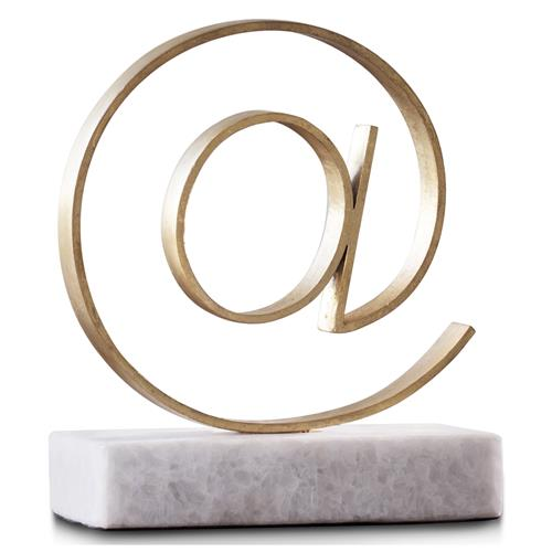 Kimberly Modern Classic Gold Leaf Finish '@' Symbol | Kathy Kuo Home