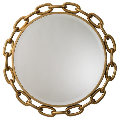 Dinah Global Bazaar Iron Gold Brass Finish Linked Wall Mirror - 40D | Kathy Kuo Home