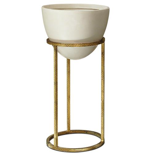 Leslie Modern Classic White Egg in Gold Planter Medium | Kathy Kuo Home