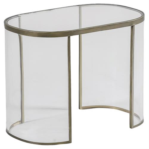 Angelise Modern Acrylic Brass Oval End Table | Kathy Kuo Home