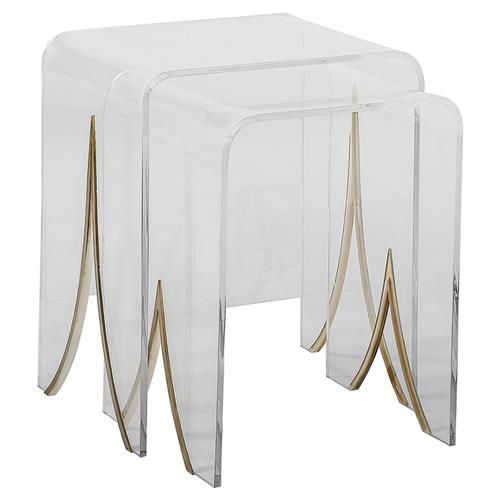 Channing Modern Lucite Waterfall Brass Nesting Table - Pair | Kathy Kuo Home