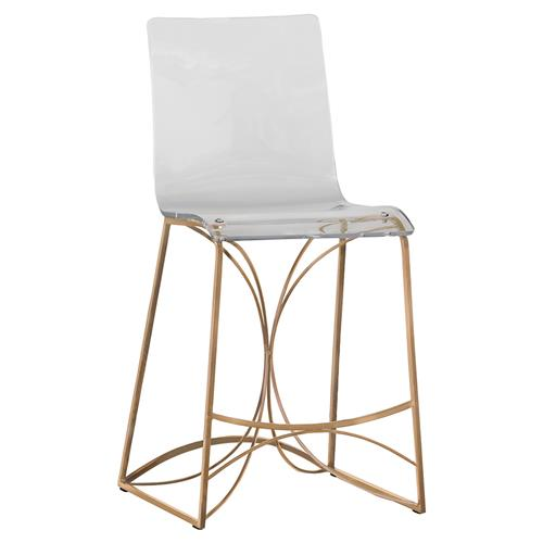 Carole Regency Retro Gold Acrylic Counter Stool | Kathy Kuo Home