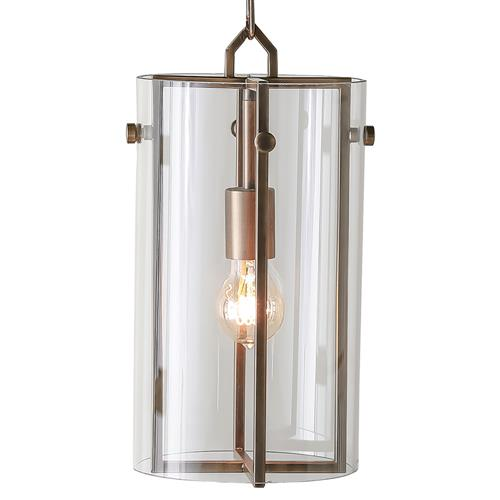 Bixby Modern Loft Glass Column Brass Pendant | Kathy Kuo Home