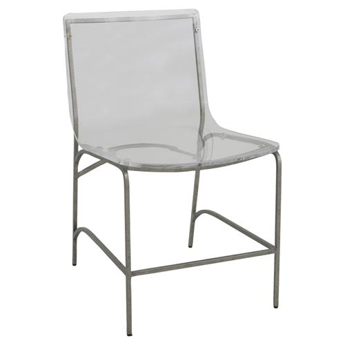 Paula Modern Classic Antique Silver Acrylic Chair | Kathy Kuo Home