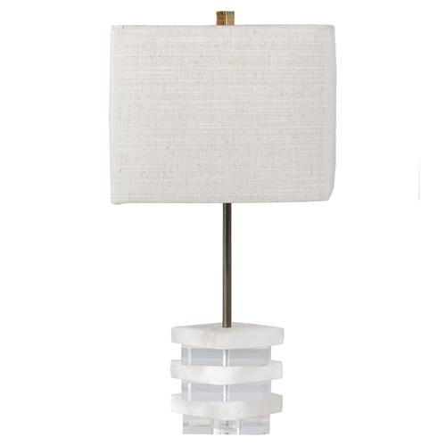 Adrian Modern Lucite Alabaster Table Lamp | Kathy Kuo Home