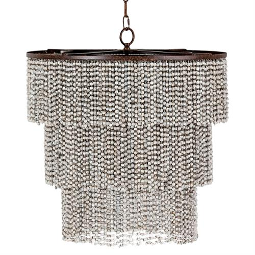 Vince Coastal Beach Wood Bead 3 Tier Chandelier | Kathy Kuo Home