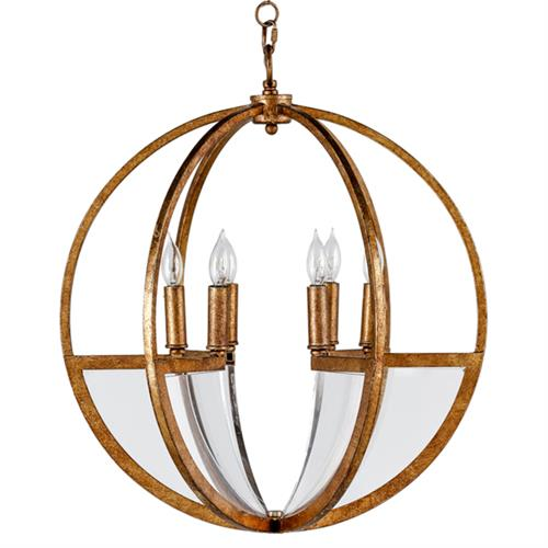 Carlisle Modern Classic Gold Leaf Lucite Orb Chandelier | Kathy Kuo Home