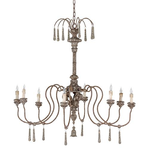Armand French Country Grey Wood Finial Chandelier | Kathy Kuo Home
