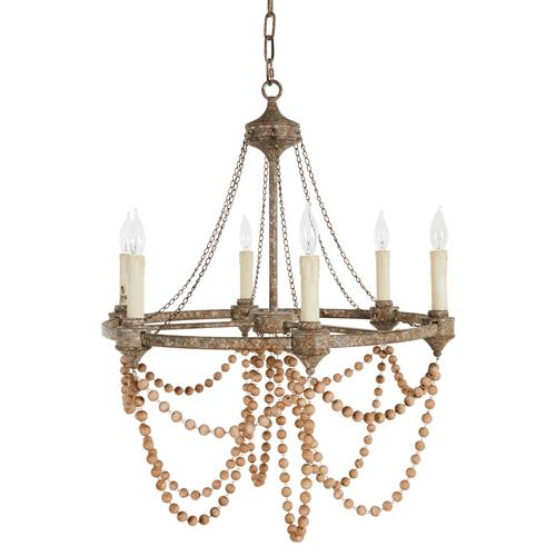 Auvergne French Country Rustic Iron Wooden Beads Chandelier | Kathy Kuo Home