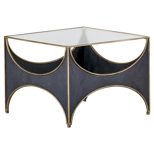 Julissa Regency Half Moon Black Glass Top Coffee Table Kathy Kuo Home