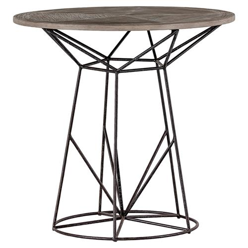 Justus Industrial Wire Frame Oak Bistro Table | Kathy Kuo Home