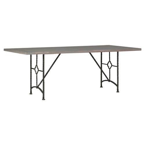Giada Industrial Floral Iron Oak Wash Dining Table | Kathy Kuo Home