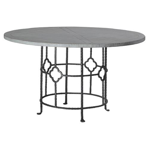 Gianni Industrial Floral Iron Oak Round Dining Table | Kathy Kuo Home