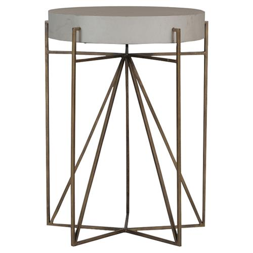 Terpin Modern Brass Teepee Vellum End Table | Kathy Kuo Home