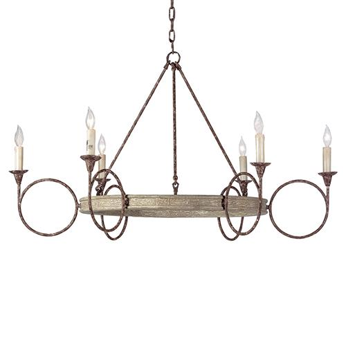 Tourteau French Country Iron Wood Circles Chandelier | Kathy Kuo Home