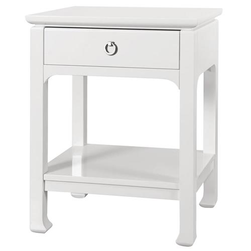 Bruna Top Drawer Regency White Lacquer Nightstand | Kathy Kuo Home