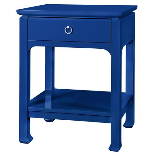 Bruna Top Drawer Regency Blue Lacquer Nightstand : Kathy Kuo Home