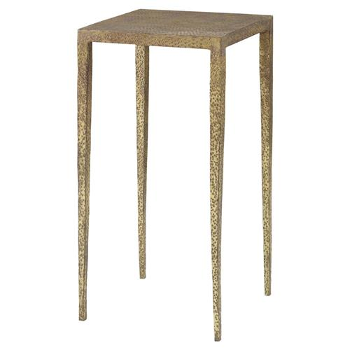 Mr. Brown Hawes Global Bazaar Slender Hammered Gold End Table | Kathy Kuo Home