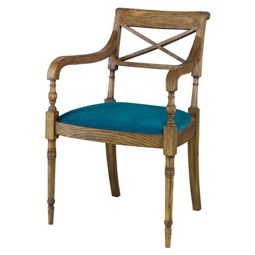 Mr. Brown Armathwaite French Rustic Oak Arm Chair - Prussian Teal Velvet | Kathy Kuo Home