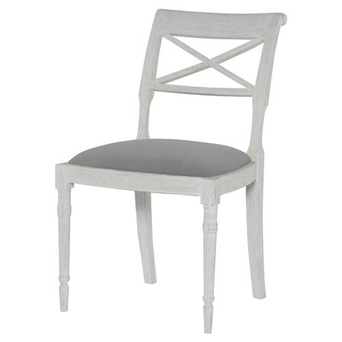 Mr. Brown Armathwaite French White Oak Side Chair - Cannon Grey Velvet | Kathy Kuo Home
