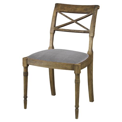 Mr. Brown Armathwaite French Rustic Oak Side Chair - Cannon Grey Velvet | Kathy Kuo Home