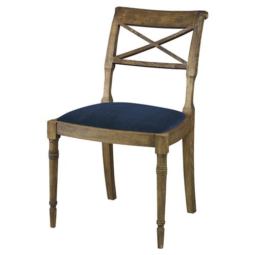 Mr. Brown Armathwaite French Rustic Oak Side Chair - Harbor Blue Velvet | Kathy Kuo Home