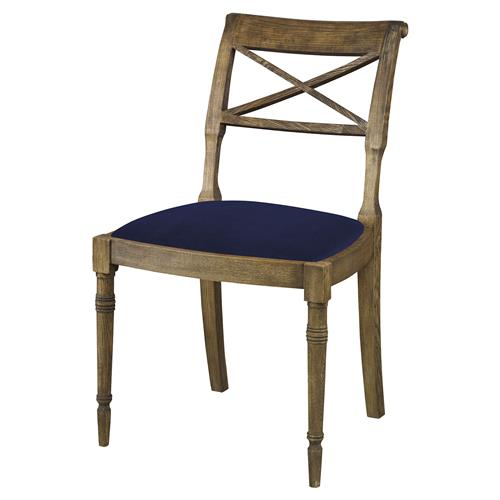 Mr. Brown Armathwaite French Rustic Oak Side Chair - Lapis Blue Velvet | Kathy Kuo Home