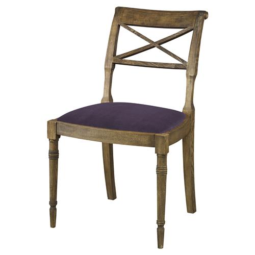 Mr. Brown Armathwaite French Rustic Oak Side Chair - Purple Thistle Velvet | Kathy Kuo Home