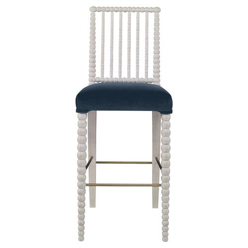 Mr. Brown Beatrix Modern White Bead Harbor Blue Velvet Barstool | Kathy Kuo Home
