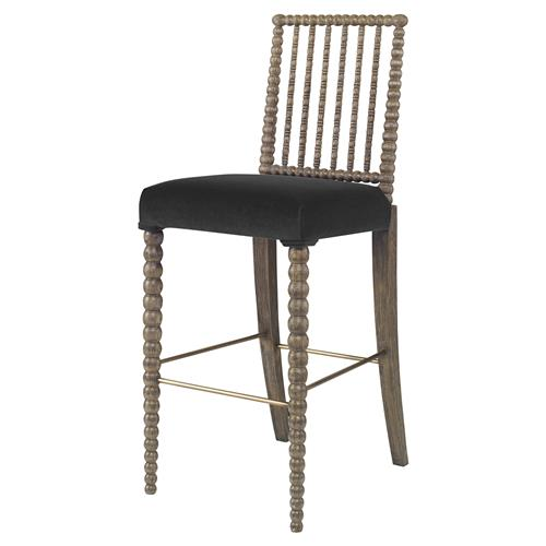 Mr. Brown Beatrix Modern Oak Bead Barstool - Dark Grey Velvet | Kathy Kuo Home