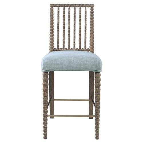 Mr. Brown Beatrix Modern Oak Bead Counter Stool - Glacier Blue Linen | Kathy Kuo Home