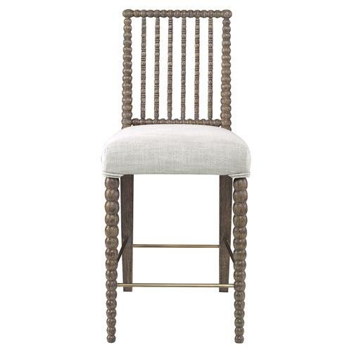 Mr. Brown Beatrix Modern Oak Bead White Linen Counter Stool | Kathy Kuo Home