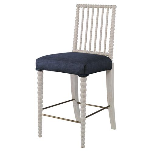 Mr. Brown Beatrix Modern White Bead Navy Blue Linen Counter Stool | Kathy Kuo Home