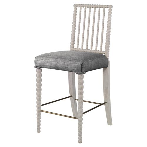 Mr. Brown Beatrix Modern White Bead Counter Stool - Grey Putty Linen | Kathy Kuo Home