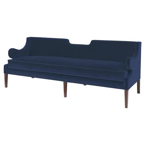 Mr. Brown Draper Sofa Modern Classic Notch Sofa - Harbor Blue Velvet | Kathy Kuo Home