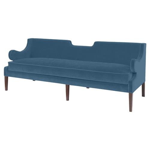 Mr. Brown Draper Sofa Modern Classic Teal Velvet Notch Sofa | Kathy Kuo Home