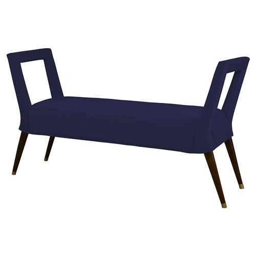 Mr. Brown Eliza Modern Window Bench - Lapis Blue Velvet | Kathy Kuo Home