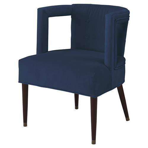 Mr. Brown Eliza Modern Window Harbor Blue Velvet Arm Chair | Kathy Kuo Home