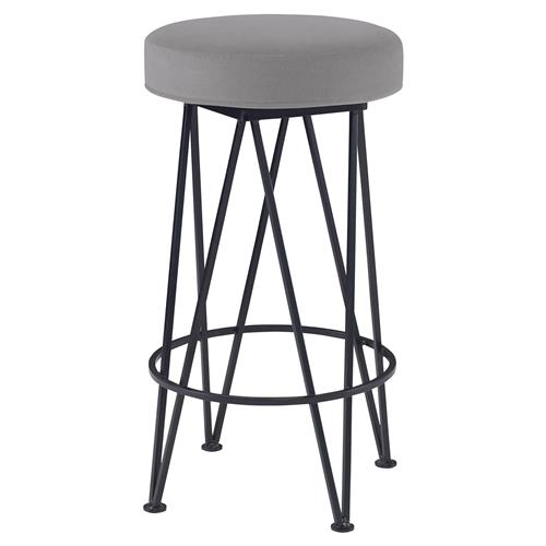 Mr. Brown Lorca Modern Black Hairpin Counter Stool - Cannon Grey Velvet | Kathy Kuo Home