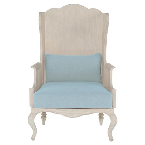 Mr. Brown Luberon Global Bazaar White Pine Glacier Linen Wing Chair | Kathy Kuo Home