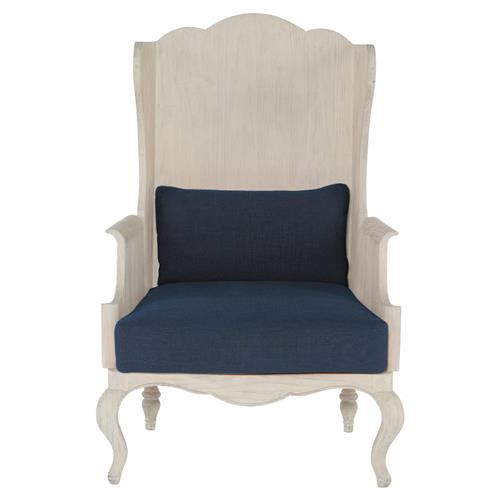 Mr. Brown Parish Global White Pine Blue Linen Wing Back Occasional Arm Chair | Kathy Kuo Home